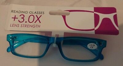 Reading Glasses 3.0 BNWT Turquoise Blue Seablue Stocking Filler Spare Pair • 3.99£