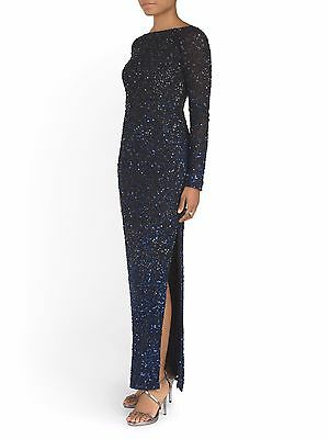 $149.99 • Buy NWT AIDAN MATTOX Size 2 Sequin Long Sleeve Gown With Slit MSRP $530
