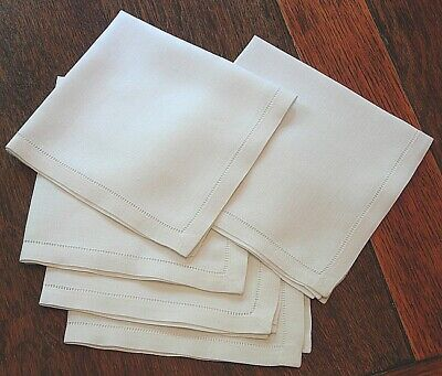 100% Cotton Hemstitch Napkins Fine Dining Table Linen White Set Of 6 - 45x45cm  • 16.60£