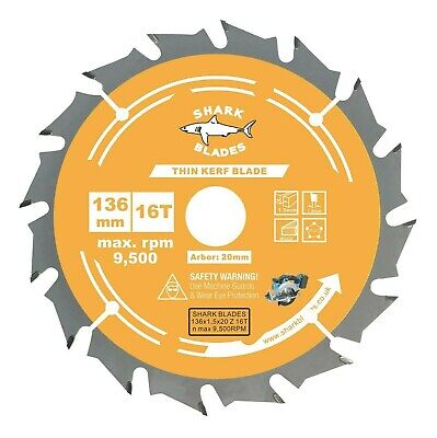£8.25 • Buy Circular Saw Blade Thin Kerf 136mm X 20 X 16T For Cordless Saws, Fast Wood Cuts
