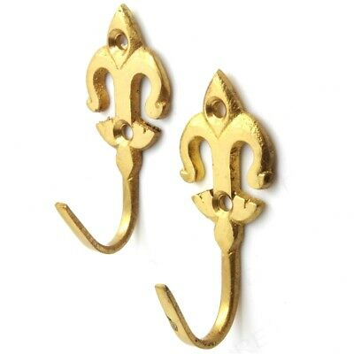 2x Solid Brass CURTAIN TIE BACKS FLEUR-DE-LYS Metal Drape Tassel Rope Hooks NEW • 2.19£