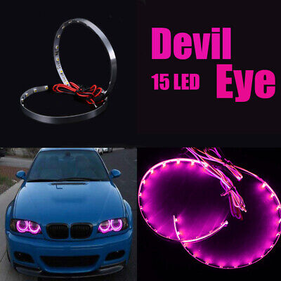 $4.99 • Buy Pair Pink LED Lights Devil Eyes Demon Eye Auto Headlight Projector Lens Rings