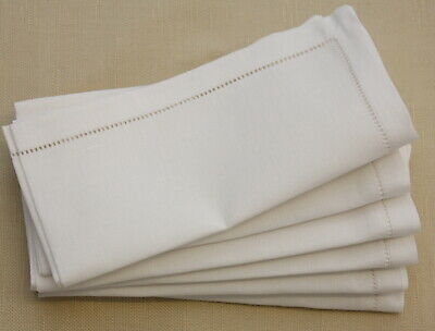 Luxury Hemstitched Linen / Cotton Napkins - Table Fine Dining 18 X18  (45x45cm) • 22£