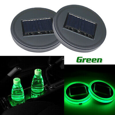 $11.35 • Buy 2x Solar Cup Pad Car Accessories LED Light Cover Interior Decoration Lamp Green