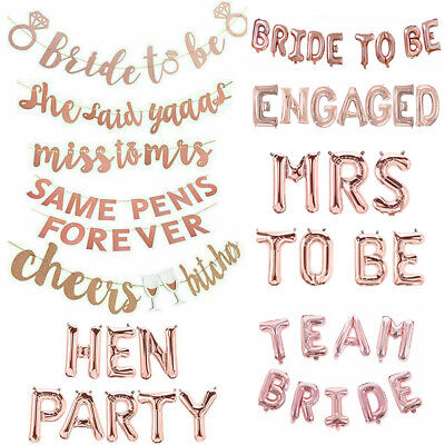 Rose Gold Bride To JUST MARRIED Banner Bunting Balloons Hen Party Wedding Decor • 3.99£