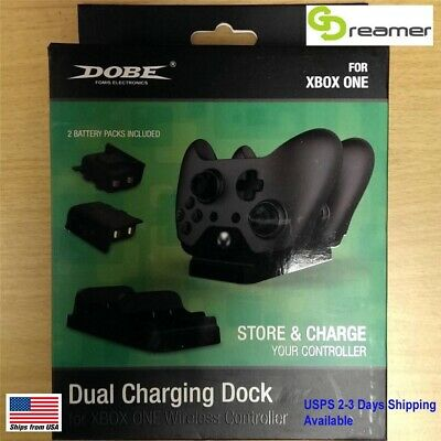 Dobe Xbox One Game Controller Dual Charge Dock Station Black With 2 Batteries • 14.99$