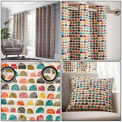 Multicolour Curtains Chicago Geometric Lined Eyelet Top Ring Top Curtains Pair • 16.99£