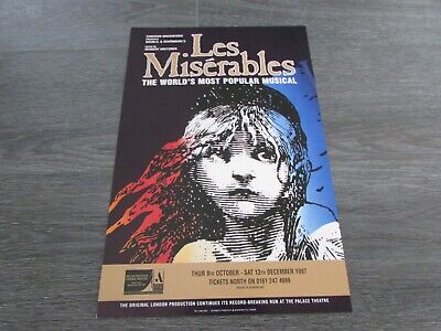 £20.99 • Buy Les Miserables Classic Musical 1997 Manchester Opera House Theatre Poster