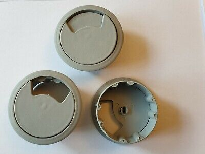 New*Grey* 60 Mm  Desk Table Plastic Cable Hole Cover Round Wire Tidy Grommet  • 2.99£