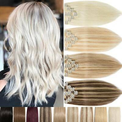 Blonde Russian Remy Clip In 100% Human Hair Extensions Full Head Real LONG-SHORT • 21.11£