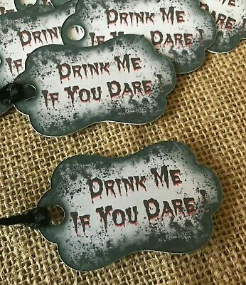£3.50 • Buy Drink Me Gothic Tags Halloween Wedding Horror Birthday Favours Sweets Party Bags