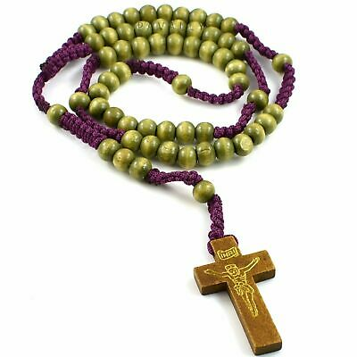 WOODEN ROSARY NECKLACE Prayer Wood Bead Beads Catholic Crucifix Womens Gents • 2.99£