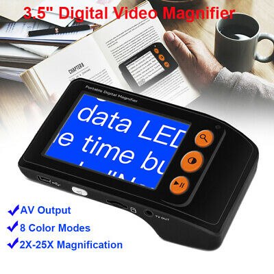 Electronic LCD Digital 2-25X Magnifier Handheld Reading Aid AV Output Low Vision • 62£