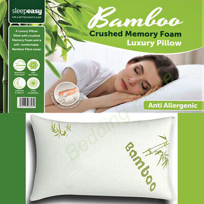 New Bamboo Memory Foam Pillow, Anti-bacterial Orthopaedic Head Neck Back Support • 10.95£