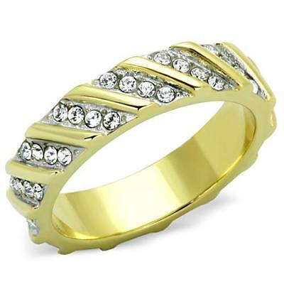 Gold Eternity Ring 5 Mm Full Cz Cubic Zirconia Steel 18kt Band Ladies New 1557 • 14.99£