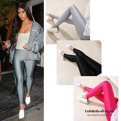 AU12.29 • Buy Celebrity 80s Coloured Metallic Shiny Fluro Neon Spandex Leggings Sale Australia