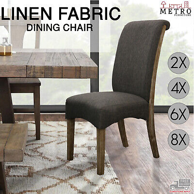 AU1832 • Buy 2, 4, 6, 8 Dining Chair Linen Fabric Solid Wooden Legs, Grey Color