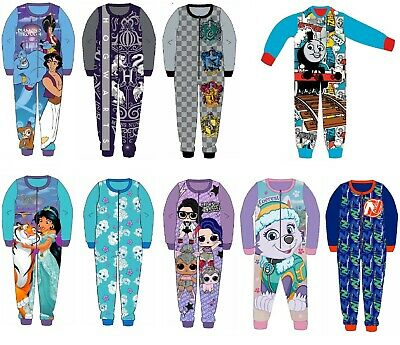 Boys Girls Kids Official Licensed Character Fleece All In One Pyjamas 18Mth 10Yr • 8.95£