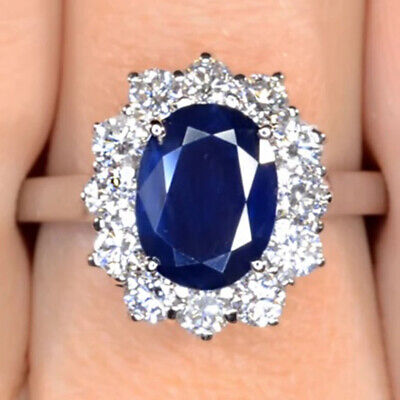 £1368.02 • Buy Kate Middleton Engagement Ring 3.22 Ct Oval Cut Sapphire 18K Solid White Gold