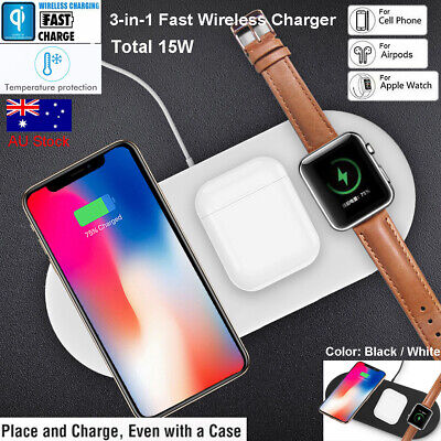 AU30.79 • Buy 3in1 Qi Wireless Charger Fast Charging Dock For Apple Watch Samsung IPhone 11 XS