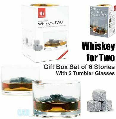 £6.99 • Buy Whisky For Two 6 Stones Rocks Ice Cube Xmas Gift Box Set With 2 Tumbler Glasses