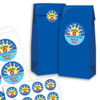 12 Paper Party Bags With Personalised Stickers BOWLING • 4.99£