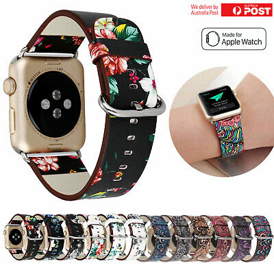 AU14.95 • Buy For Apple Watch Band Series 5 4 3 2 Floral Leather IWatch Strap Wristbands Band