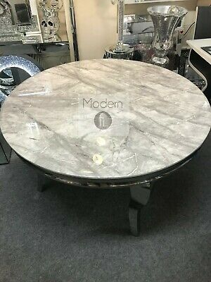 £549.90 • Buy Louis Round Dining Table With Grey Solid Marble Top, Round Marble Top Table