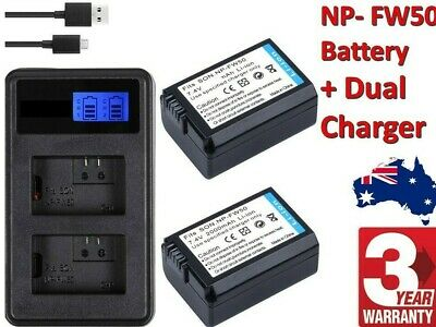$ CDN18.77 • Buy NP-FW50 Battery + Charger 2-Slot USB For SONY Alpha A7 A7R A7S A5000 A6000 NEX-3