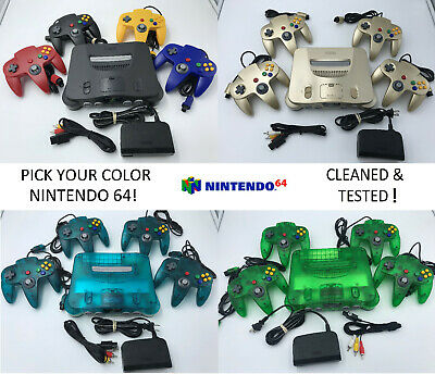 $ CDN284.80 • Buy Choose Nintendo 64 Console Color + Up To 4 Controllers + Cords!  CLEANED N64!