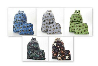 Eco Chic Novelty Expanding Backpack - Bee, Llama And Dragonfly Designs • 15£