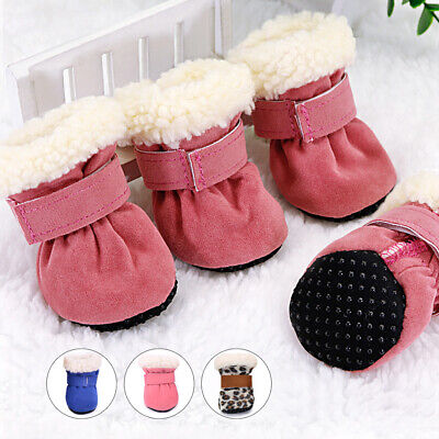 Winter Shoes For Dogs Small Medium Pink Non Slip Snow Boots Fleece Lined Booties • 4.99£