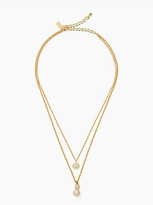 $ CDN57.08 • Buy Kate Spade Necklace Pearly Delight Double Pendant Cream Multi Gold W/Jewelry Bag