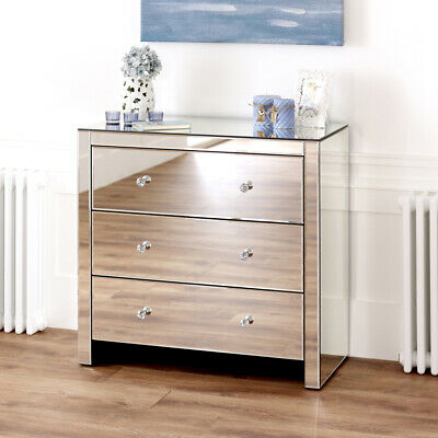 £249 • Buy Venetian Mirrored Compact 3 Drawer Chest - Low Wide Glass Bedroom Drawers VEN91