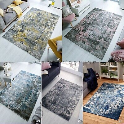 Small - Large Abstract Distressed Faded Pile Vintage-look Rugs & Runners • 49.79£