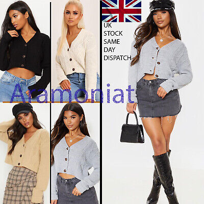 Womens Ladies Chunky Cable Knitted Cardigan 3 Button Long Sleeves Crop Top Short • 11.99£