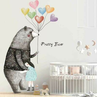 Bear Heart Balloon Wall Stickers Decal Baby Cot Nursery Decor Art Mural Gift DIY • 16£