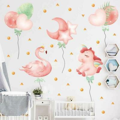 Cute Flamingo Unicorn Balloon Wall Stickers Kids Decal Baby Cot Nursery Decor • 16.35£