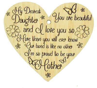 £3.99 • Buy Mother And Daughter Gifts Oak Wood Heart Plaque Birthday Gift Daughter Christmas