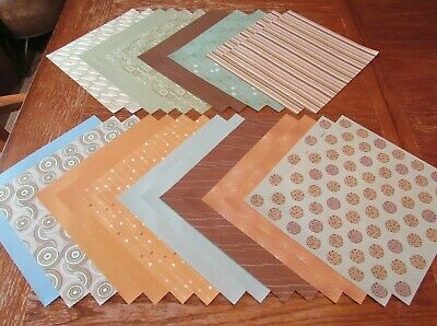 $2.95 • Buy 12X12, Scrapbook Paper Lot 27 Piece Brown, Sage, Teal, Geometric Shapes