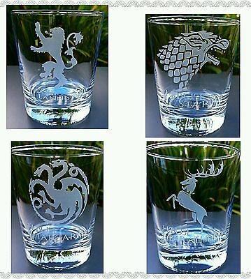 £19.99 • Buy Set Of 4 Engraved Game Of Thrones Tumbler Glasses - New