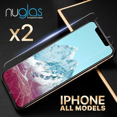 AU8.95 • Buy 2x NUGLAS Tempered Glass Screen Protector For IPhone XS Max XR X 8 7 6s Plus 5s