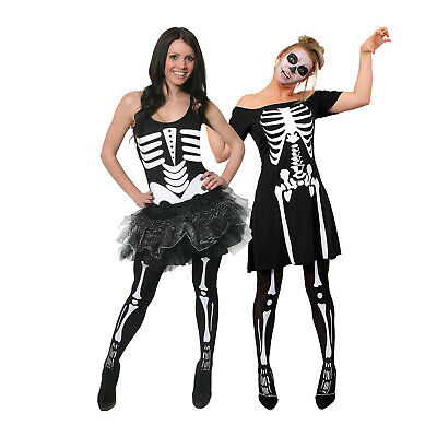 Ladies Skeleton Halloween Fancy Dress Tutu Costume Womens Choose Style • 3.99£