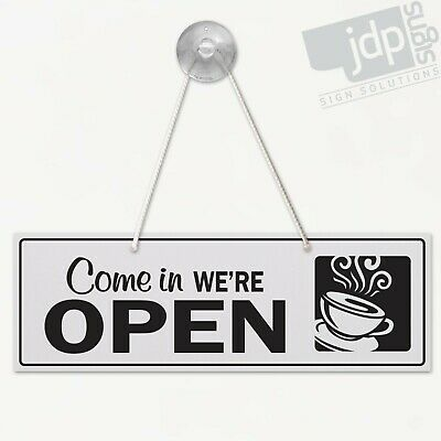 $10.49 • Buy Cafe Open And Closed 3mm Rigid 80mm X 240mm Sign, Shop Window Door - 10 Colours