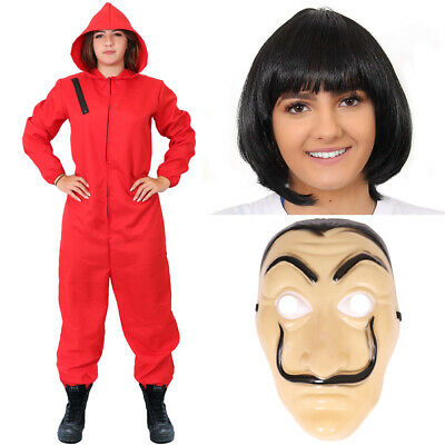 $ CDN34.60 • Buy Womens Red Heist Jumpsuit With Hood Halloween Fancy Dress Costume Cosplay Outfit