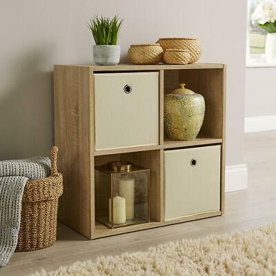 Storage Cube 4 Shelf Bookcase Wooden Display Unit Organiser Sonoma Oak Furniture • 23.99£