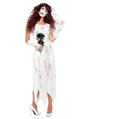 Adults Blood Splattered Zombie Bride White Fancy Dress Costume • 11.29£