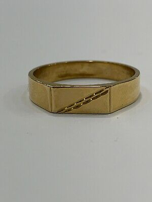 AU280 • Buy 9ct 9k Yellow Gold Mens Dress Signet Ring. Size U1/2. Brand New