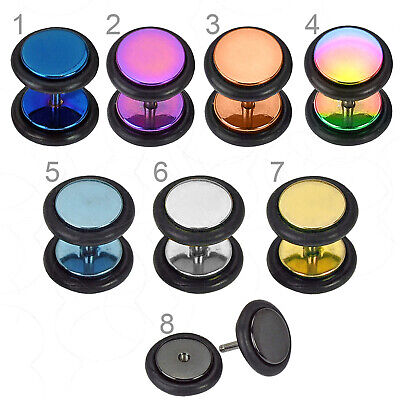 Titanium Anodised Fake Ear Plug Surgical Steel Illusion Cheater Stretcher Taper • 2.59£