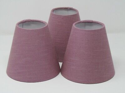 £19.50 • Buy Small Candle Clip Tapered Chandelier Lampshade Textured 100% Linen Mauve